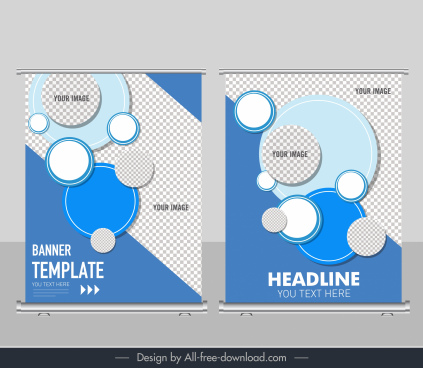 business banner template flat checkered circles decor