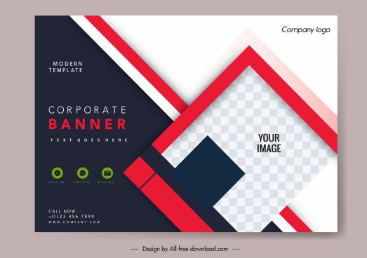 business banner template geometric checkered elegant decor