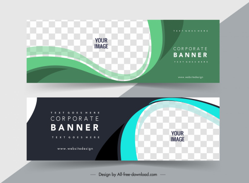 business banner template horizontal shape elegant checkered curves