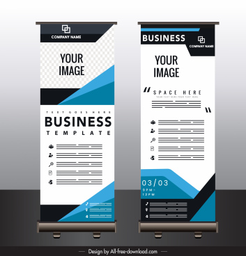 business banner template modern technology decor standee vertical