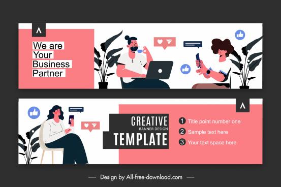 business banner template staffs communication elements sketch
