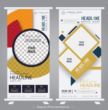 business banner templates colorful geometric checkered decor