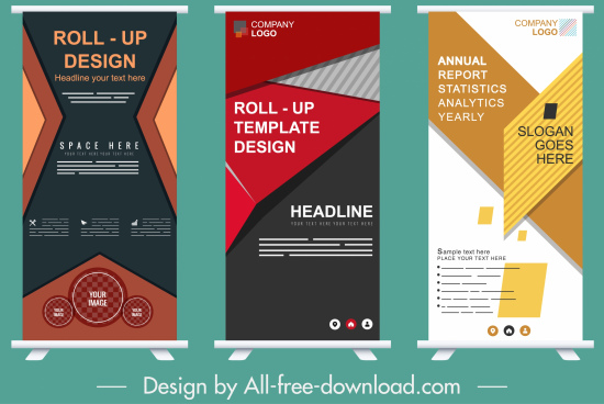 business banner templates colorful modern standee design
