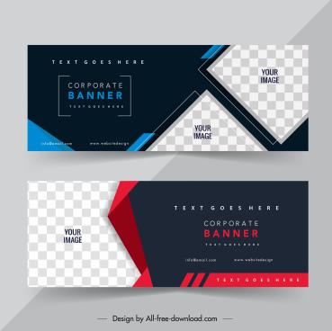 business banner templates elegant dark design checkered decor
