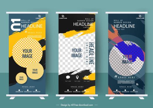 business banner templates grunge vertical rolled up design