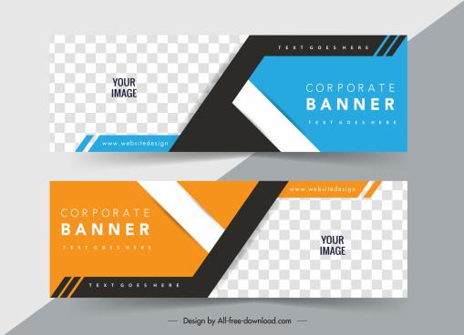 business banner templates modern horizontal checkered decor