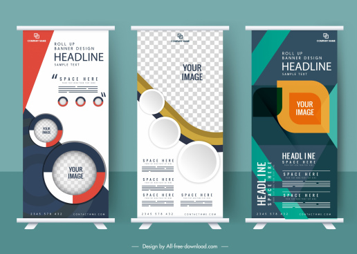 business banner templates modern rolled up design