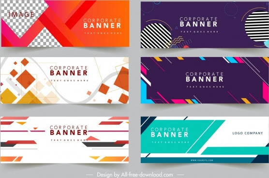 business banner templates multicolored modern abstract design