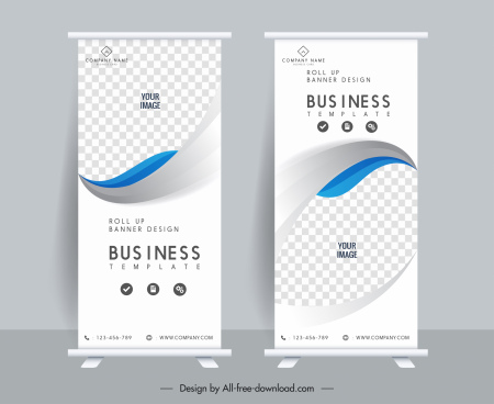 business banner templates standee shape bright checkered curves