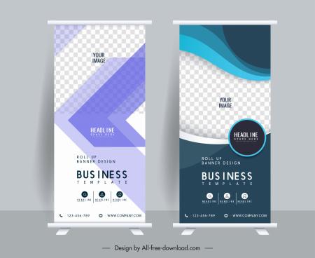 business banner templates standee shape elegant checkered decor