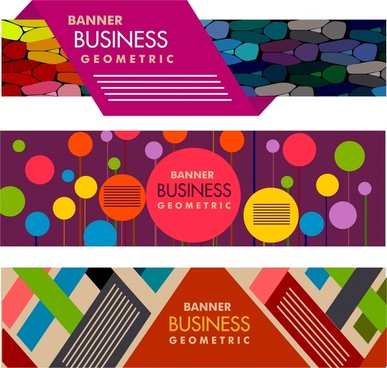 business banners set colorful abstract design