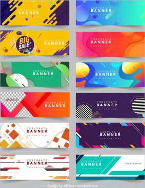 business banners templates collection colorful abstract geometric decor
