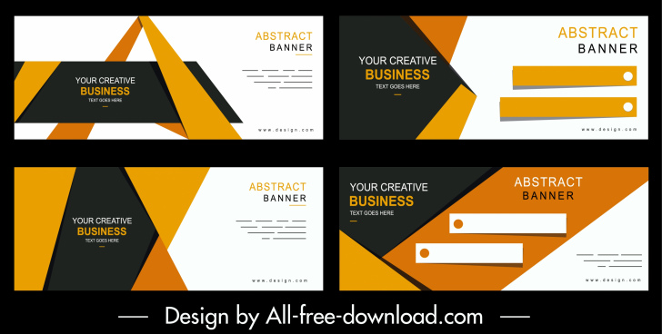 business banners templates colorful modern design technology decor