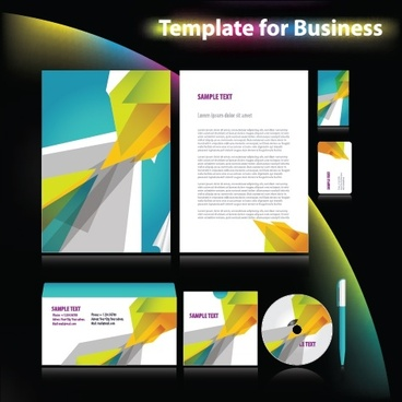 business identity templates colorful abstract 3d decor