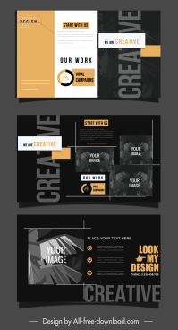 business brochure cover template modern elegant dark decor
