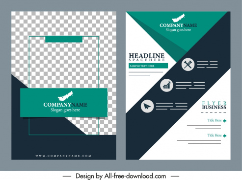 business brochure cover templates elegant design checkered decor