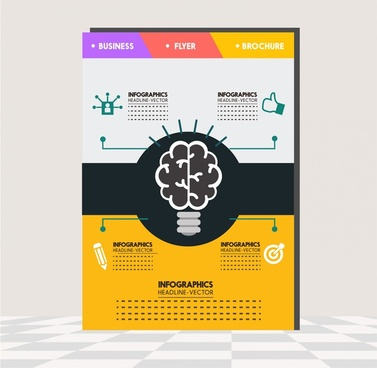 business brochure design with brainstorm infographic illustration