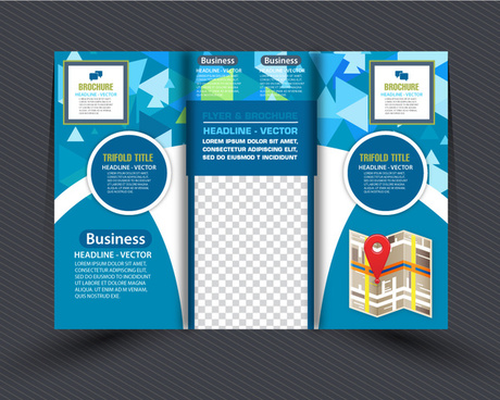business brochure design with modern abstract trifold style