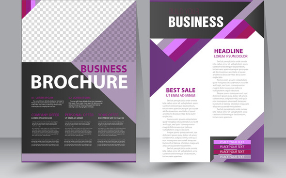 business brochure design with violet checkered illustration