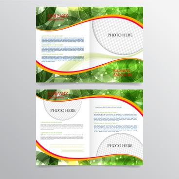 business brochure illustrations with modern abstract green background