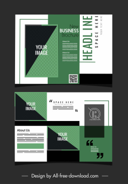 business brochure template elegant dark green white decor