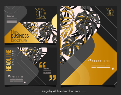 business brochure template luxury golden black leaves decor