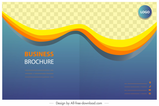 business brochure template modern checkered dynamic curves decor
