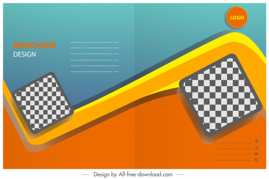 business brochure template modern checkered geometric decor