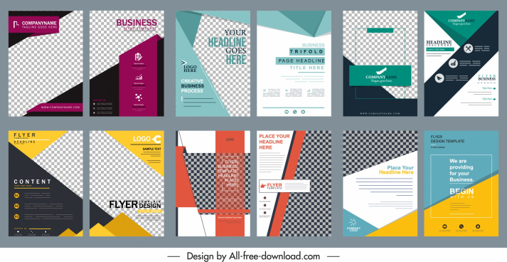 business brochure templates collection colorful modern elegant decor