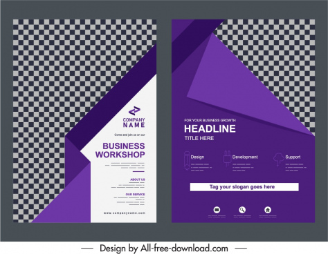 business brochure templates elegant violet checkered origami decor