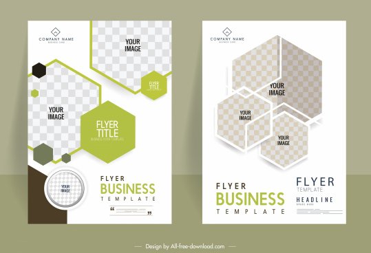 business brochure templates geometric polygonal checkered decor