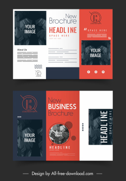 business brochure templates trifold shape classic leaves decor