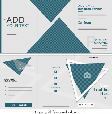 business brochure trifold shape flat geometric checkered decor