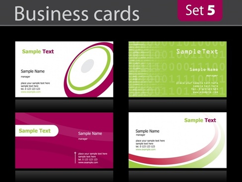 business card templates bright modern circle curves ornament