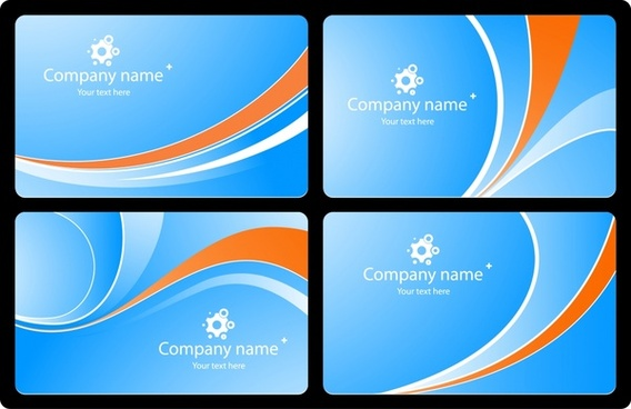 business card templates bright modern design curves ornament