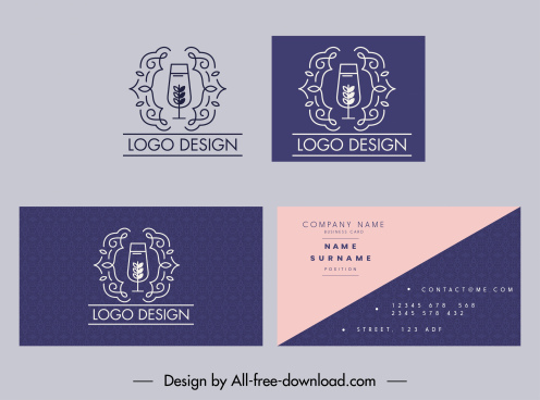 business card decor elements flat elegant wineglass vintage sketch