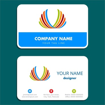 business card design with simple white background
