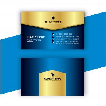 business card golden blue design template