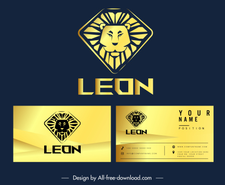 business card logo template golden lion face sketch