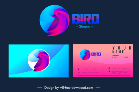 business card logotype bird sketch dark design