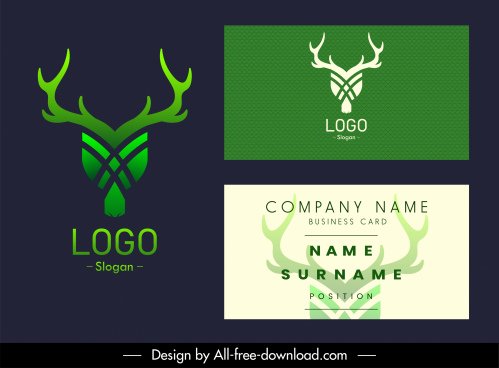 business card logotype reindeer head sketch