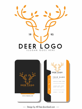 business card logotype reindeer head sketch symmetric handdrawn