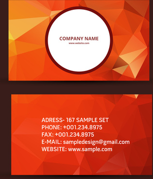 business card red abstract geometric