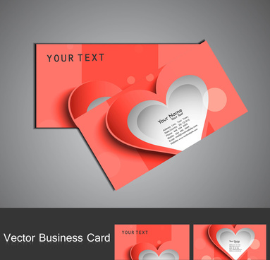 business card set colorful heart stylish vector