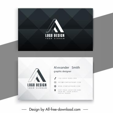 business card template 3d letter logotype contrast decor