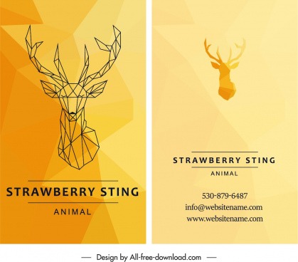 business card template 3d reindeer sketch yellow decor