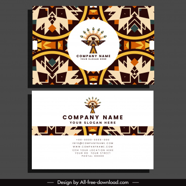 business card template abstract ethnic elements decor