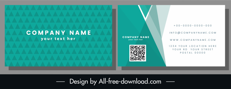 business card template abstract geometric green white decor