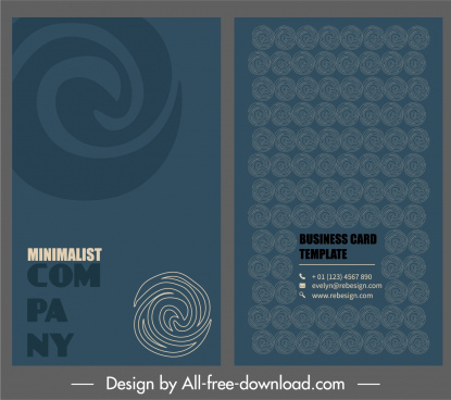 business card template abstract twist shapes sketch