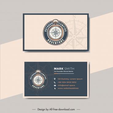 business card template adventure camping compass decor